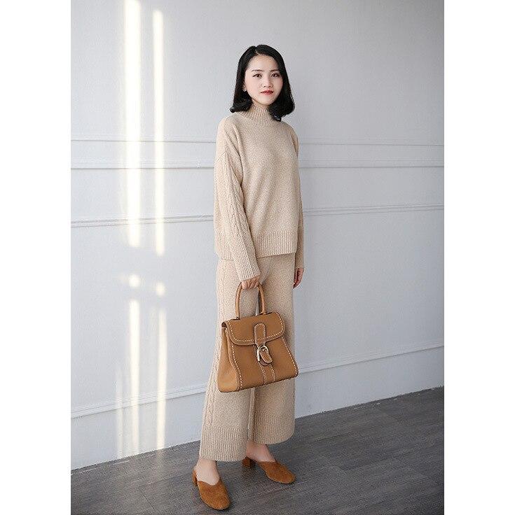 Hiver Femme En 2 2018 Laine Pièce Chandails À Et Femelle Col Femmes marron Pulls Tricoté Costume Pull Deuxpièce Haut Cachemire Pantalon Kaki ynvNwm80O