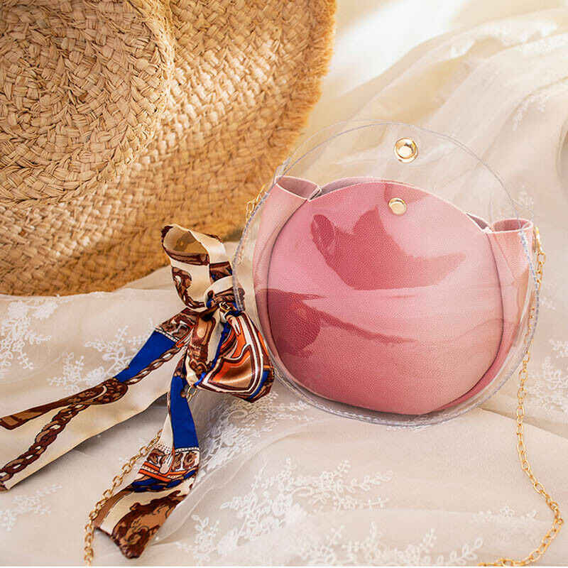 New Women Bag PVC Transparent Clear Messenger Shoulder Crossbody Bag For Lady Tote Lovely Jelly Candy Summer Beach Handbag