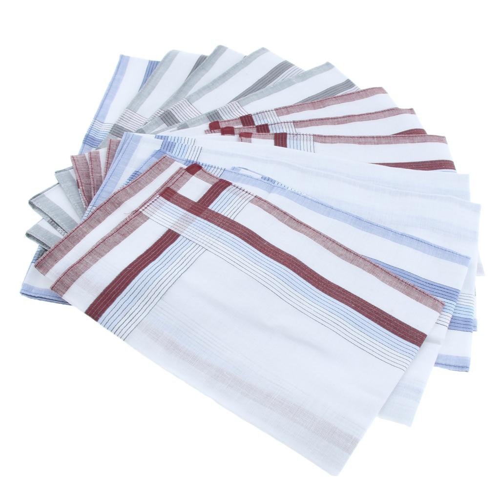 12 Pieces Men's Handkerchief Pocket Business Pocket Square Chest Towel Cotton Male Apparel Accessories 40*40cm