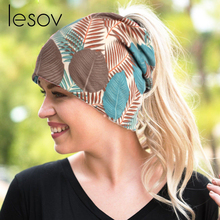 60219c3c79e Lesov Double Use Cotton Ponytail Beanies Cap Turban Hat Women Printed  Slouchy Headband Breathable Beanie Hat