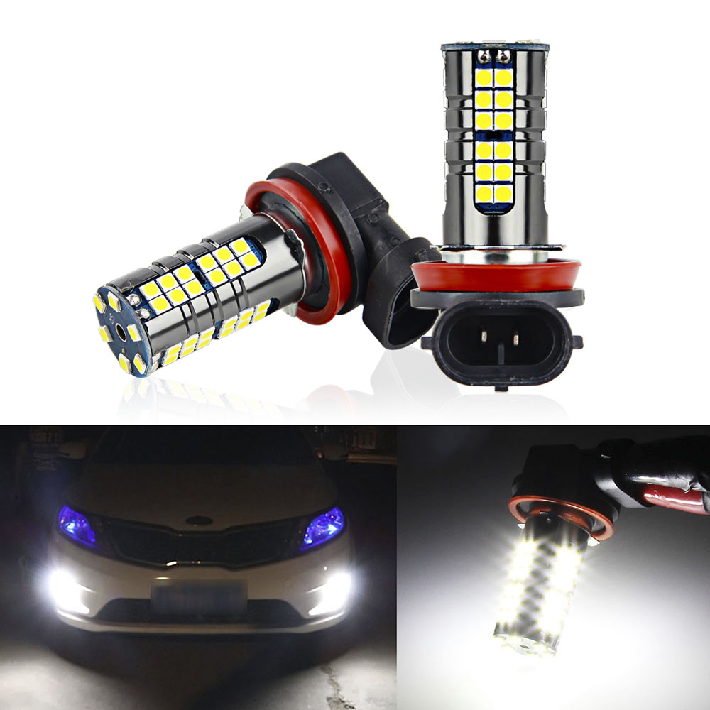 2PCS H11 LED H8 Car Lights 12v Replacement Fog Light Bulbs 1800LM 6000K Super Bright LEDs Car DRL Daytime Running Driving Lamp