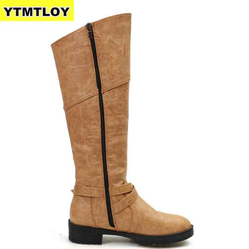 Giày Bốt nữ Da PU Mềm Cao cấp Khóa Trang Trí Đầu Gối Thời Trang Botas Mujer Kích Thước 42 Giày Cao Nền Tảng Boot