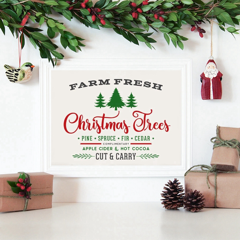 Farm Fresh Christmas Trees Sign Art Canvas Poster Painting Christmas Home Decor And Rustic Sign Wall Picture Canvas Prints