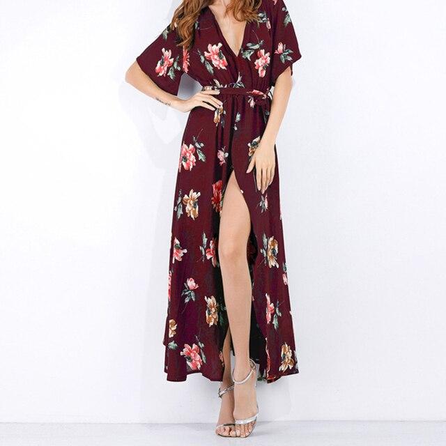 013979080c7 Women Maxi Dress 2018 Short Sleeves V Neck Long Dress Female Boho Style  Summer beach dress vestidos WS6923T