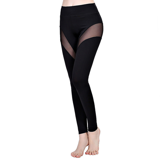Sportlegging Vrouwen.Woman Tight Gym Yoga Pants Ladies Sport Legging 2017 Breathable Mesh