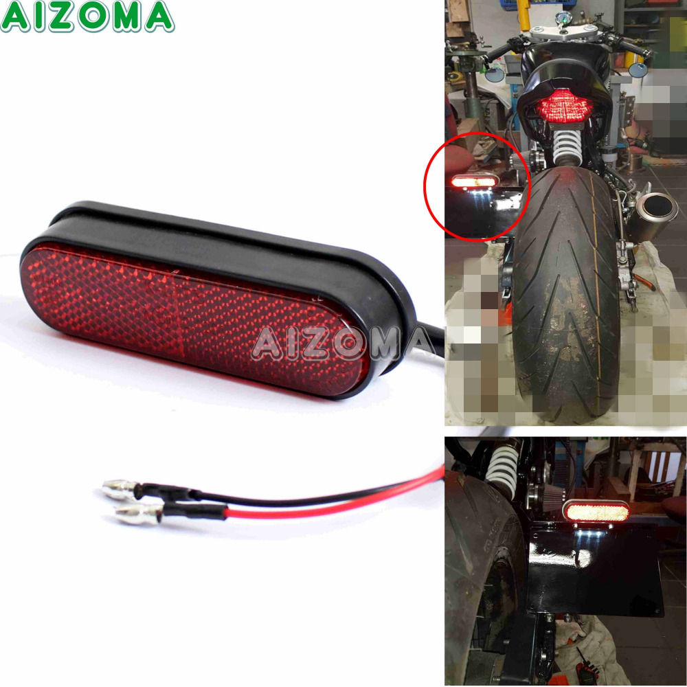 Motorcycle LED License Plate Light With Rear Red Reflector Universal For Honda Suzuki Yamaha Kawasaki Harley Chopper Bobber