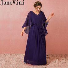 90f056752cbb4 JaneVini 2018 Mor Şifon Anne İnciler A-Line Kat Uzunluk Düğün Parti  Elbiseler Resmi Akşam Giymek