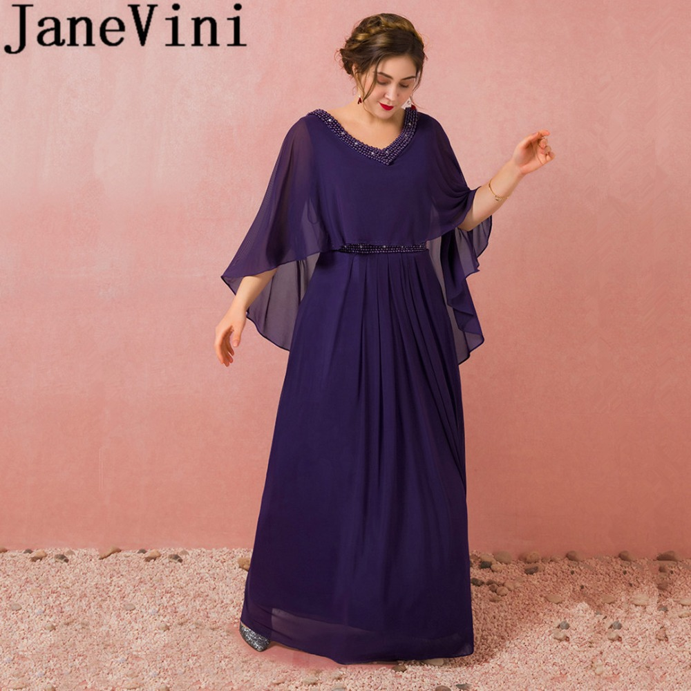 JaneVini 2018 Purple Chiffon Mother of the Bride Dresses Pearls A Line Floor Length Wedding Party Dresses Formal Evening Wear