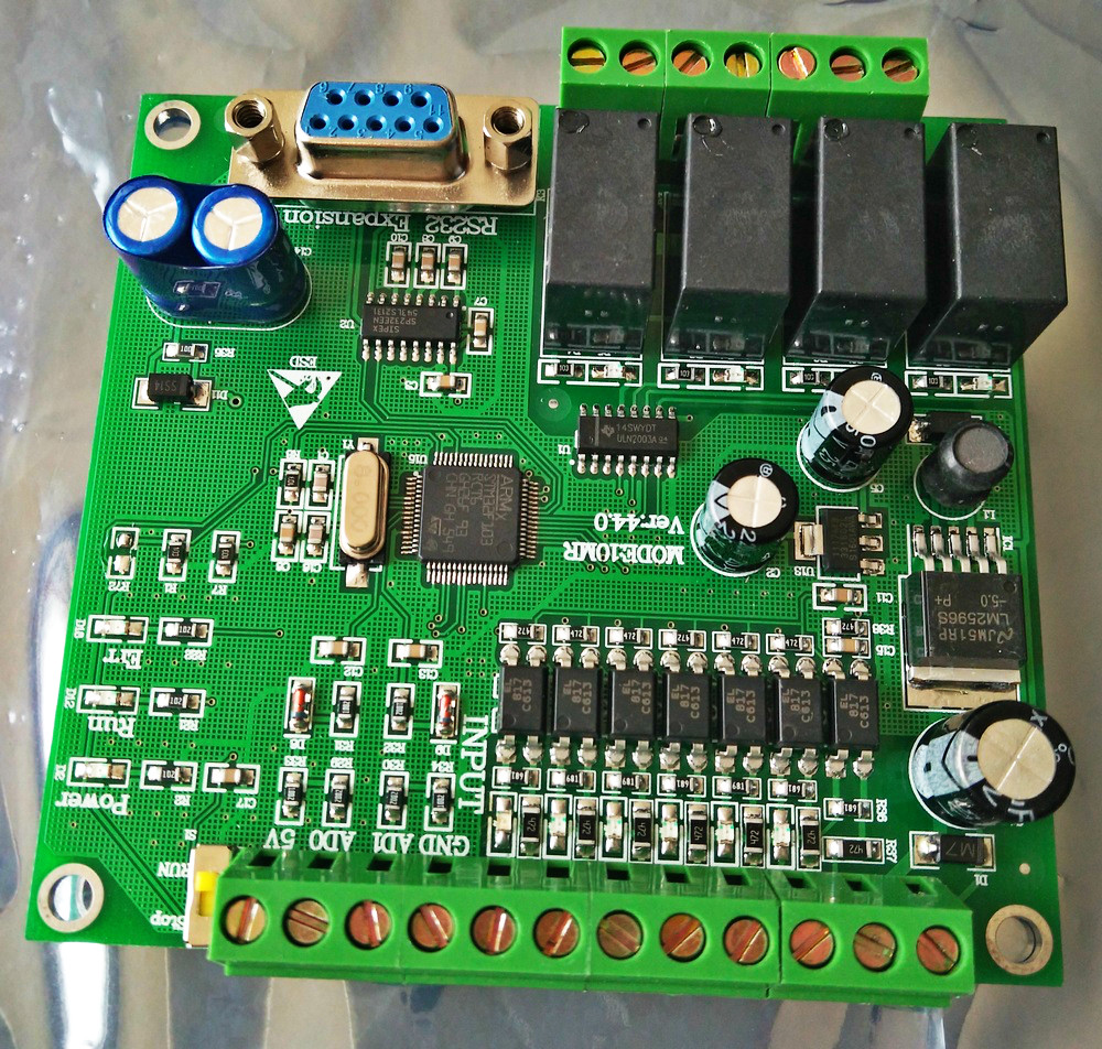 Single board  plc,FX1N 10MR STM32  MCU  6  input point   4 output point AD input motor controller pxb15 48wd05 n power supplies board mount mr li