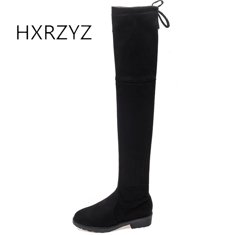 HXRZYZ over the knee boots women suede soft thigh high boots autumn/winter fashion warm comfortable tall tube women black shoes odetina warm cotton snow boots black over the knee long boots womens thigh high boots waterproof fashion ladies winter shoes