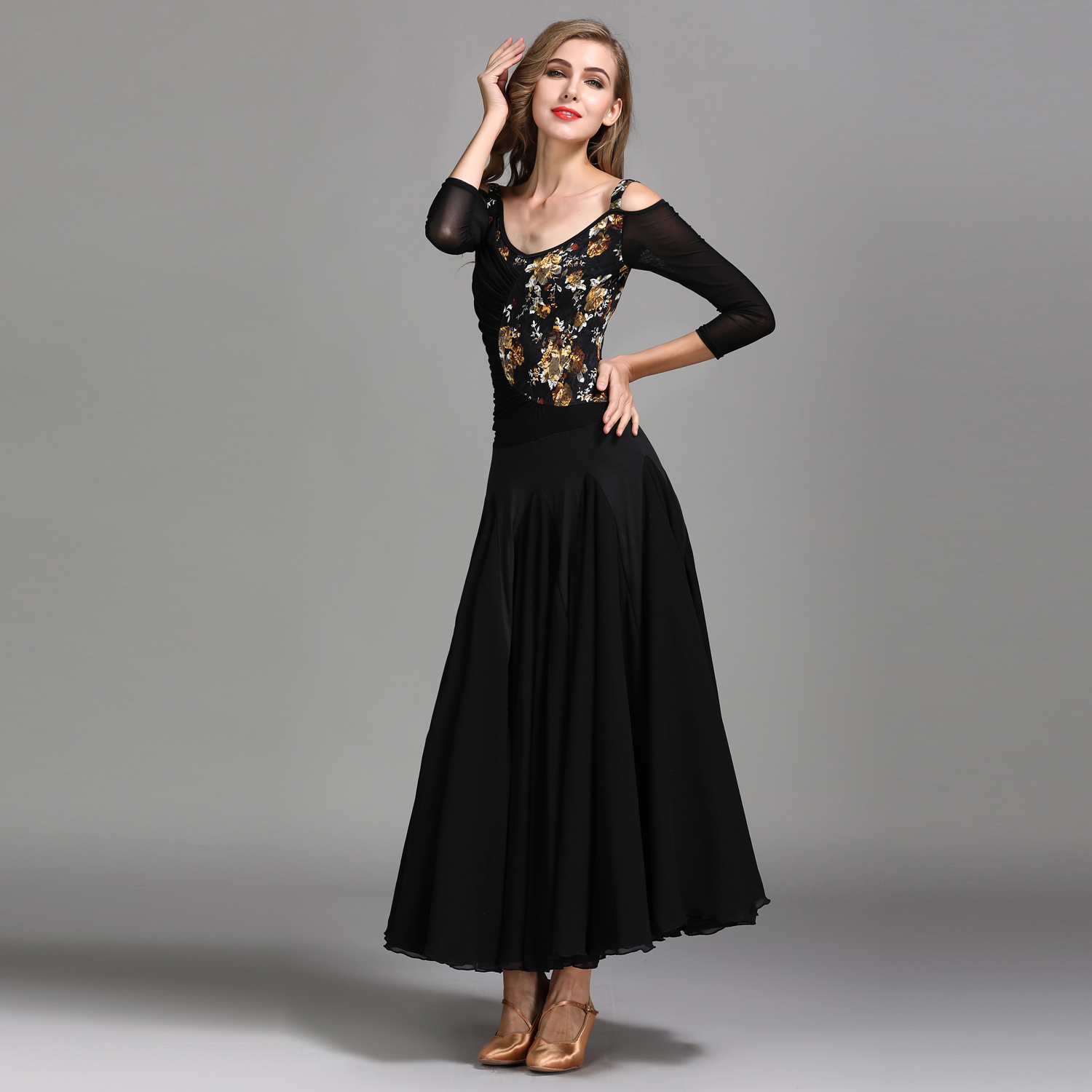 Modern Dance Costume Women Lady Adult Waltzing Tango Lace Dancing Dress Ballroom Costume Evening Party Dress 1846 and 1847 latin dance top and skirt suits dance dress ballroom costume leotard women lady adult evening party dress