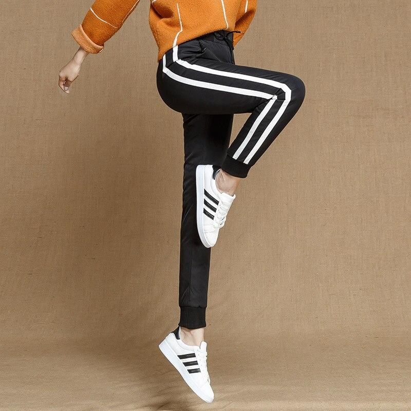 90 Pantalones Los Skinny Chándal Rayas Elástica Shuchan Negro Completa De Para Mujer En Alta Impermeables Plumón Lados Con Casual Longitud Cintura SBnd4wqxF