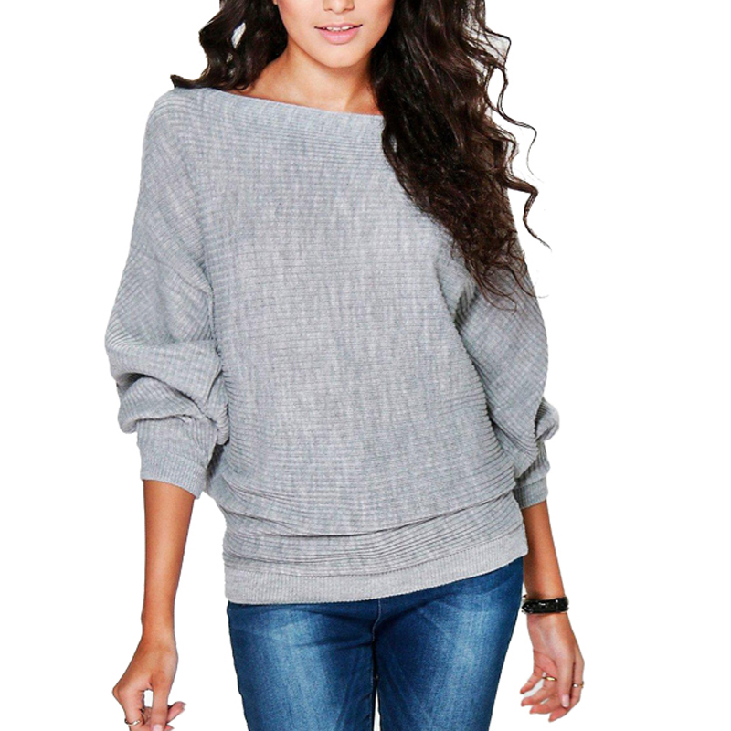 Gray Thin Knitted Sweater and Pullover Women Fashion Long Sleeve Autumn Casual Sweaters Female Solid Batwing Knit Jumpers Tops
