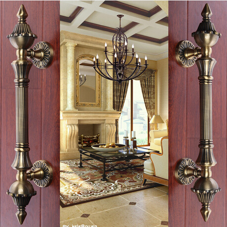 2 pcs free shipping Door shake handshandle european-style villa door shake handshandle archaize wooden door handle  KD-8008-450
