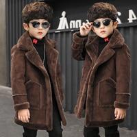 2018 Boys Girls Hooded Jacket Coat Spring Winter Kids Windbreaker for Boy Plus Thicken Fleece Velvet Outerwear Children Clothes