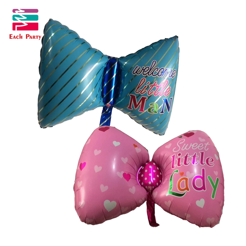 Bow tie foil balloons blue pink helium balloon globos inflatable happy birthday