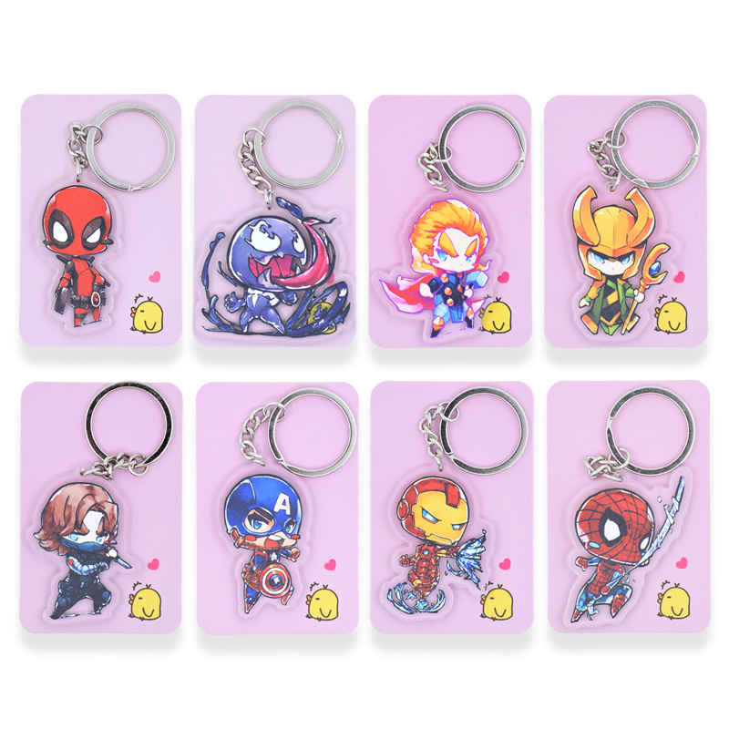 New Super Hero Keychain Cute The Avengers Double Sided Key Chain Customize Anime Key Ring PCB75-86