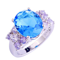 Exquisite Women Jewelry Blue Sapphire Tourmaline Band 925 Silver Ring Size 6 7 8 9 10 11 New Rings Gift Wholesale Free Shipping