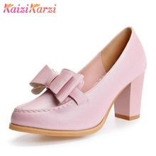 5d790648d KaiziKarzi 4 Color Women High Heel Shoes Bowknot Round Toe Thick Heels  Footwear Casual Fashion Party