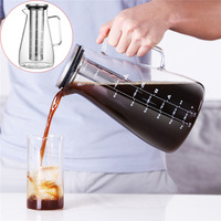 1800ml Glass Coffee Makers Italian Coffee Percolator Moka Espresso Cafeteira Expresso Stainless Steel Long Filter Iced Pot
