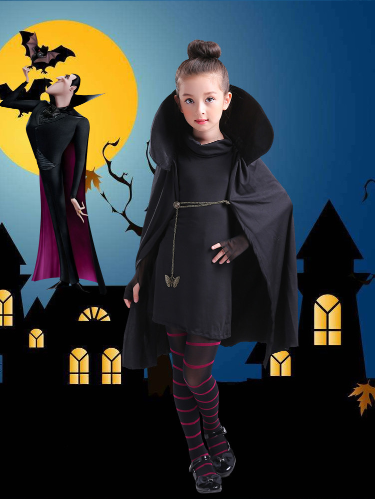 Cartoon movie Hotel Transylvania Mavis Cosplay Costume Black Cape Coat With T-shirt pants Halloween Party Cosplay Costume