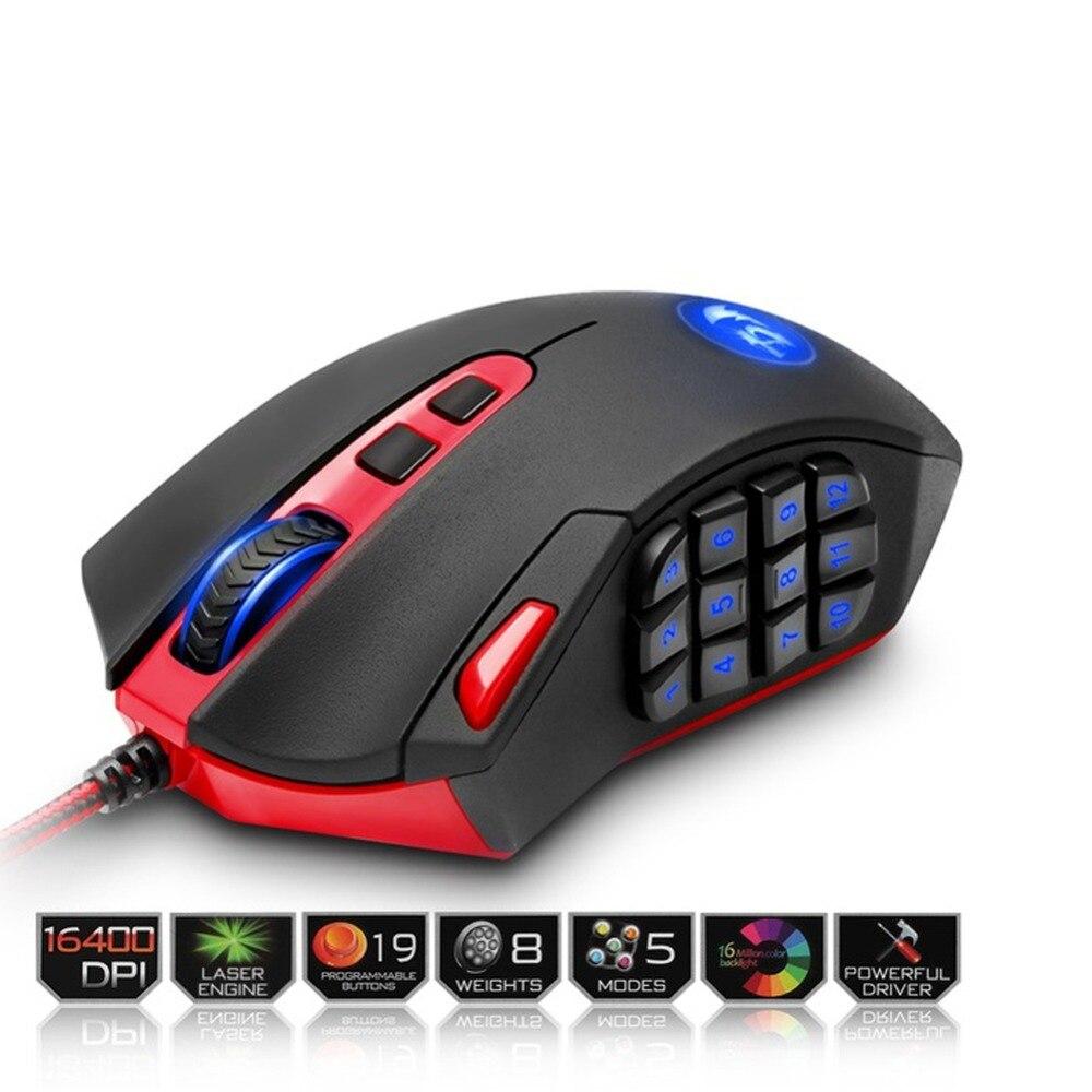 M901 игровая мышь 16400 dpi светодиодный лазерный двигатель с RGB подсветкой 18 программируемых кнопок высокоскоростная USB Проводная игровая мышь д...