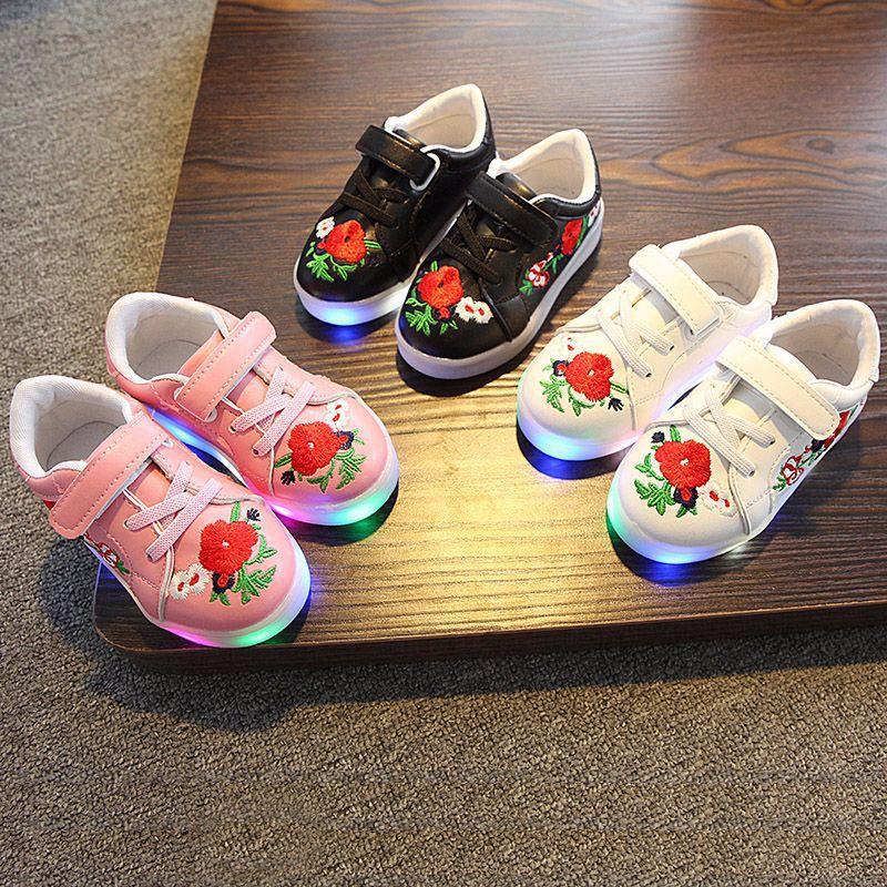 kwiatowy print PU skórzane buty dziecięce led świecące trampki - Obuwie dziecięce - Zdjęcie 5