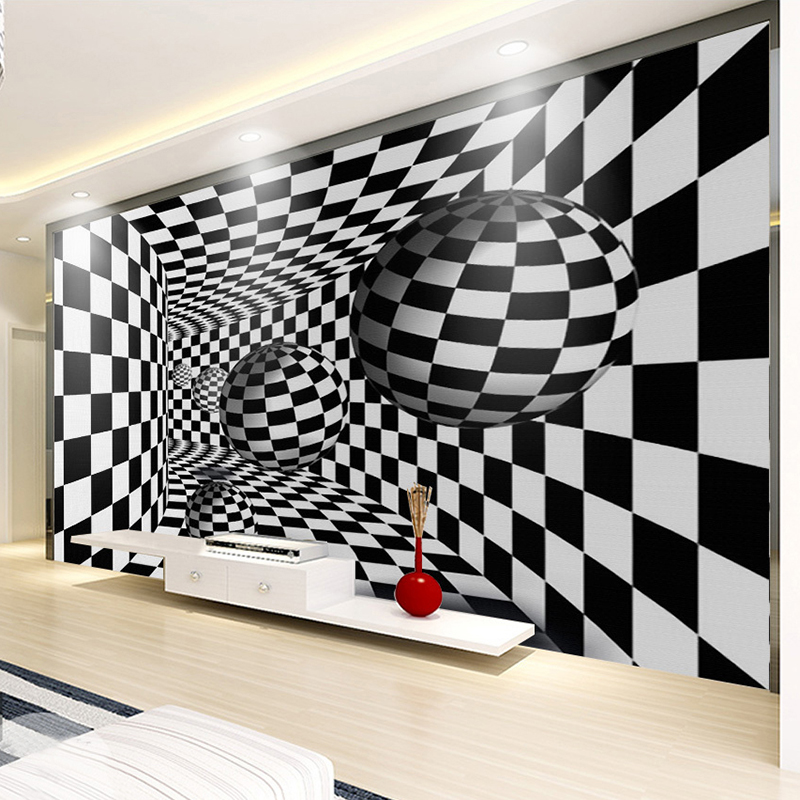 Modern Abstract Black And White 3D Stereoscopic Tunnel Art Wallpaper Living Room TV Background Wall Mural Creative Home Decor 3D 3d stereoscopic wall wallpaper for walls 3 d living room tv background vinyl wallpaper roll mural 3d home decor pvc marble top