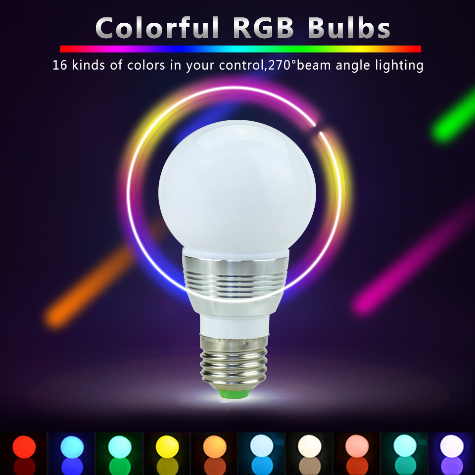 RGB Colour Changing E27 E14 GU10 MR16 RGB LED Bulb LED Lamp Light Spot Bulb IR Remote Control Home living Room Party Decoration agm rgb led bulb lamp night light 3w 10w e27 luminaria dimmer 16 colors changeable 24 keys remote for home holiday decoration