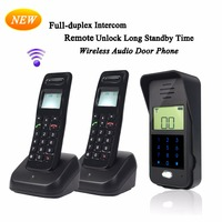 Home Security LCD Screen 2 4GHz Display Wireless Door Intercom System 1 Outdoor Unit 2 Handsets