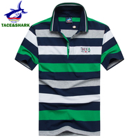 2017 Merk kleding Tace & Shark polo shirt business gestreepte shark man Hoge kwaliteit Mode mannen katoen shark polos