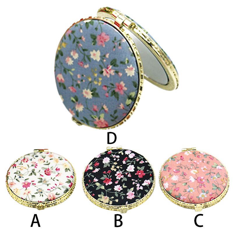 1Pc Mini Round Pocket Folding Makeup Mirror Vintage Double Sides Floral Printed Chinese Style Compact Cosmetic Tool Portable