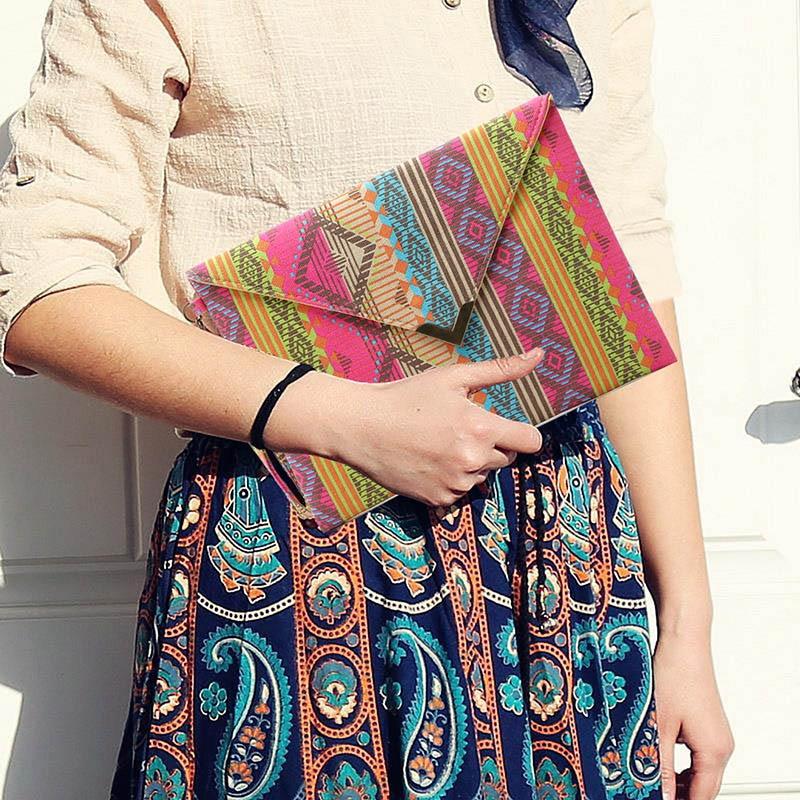 Designer Handbags Geometric Purses Clutch Small Women Ladies MSJ99 National Canvas Envelope