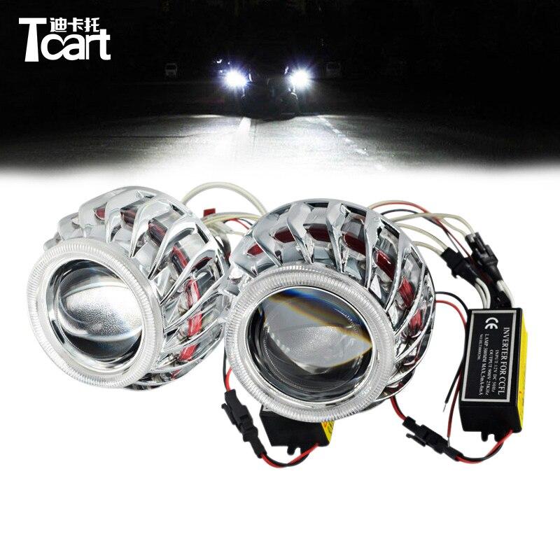 цены Tcart CCFL F2 Circular /Round Double Angel Eyes bi -xenon hid conversion kit Projector Lens Light For Auto Headlights