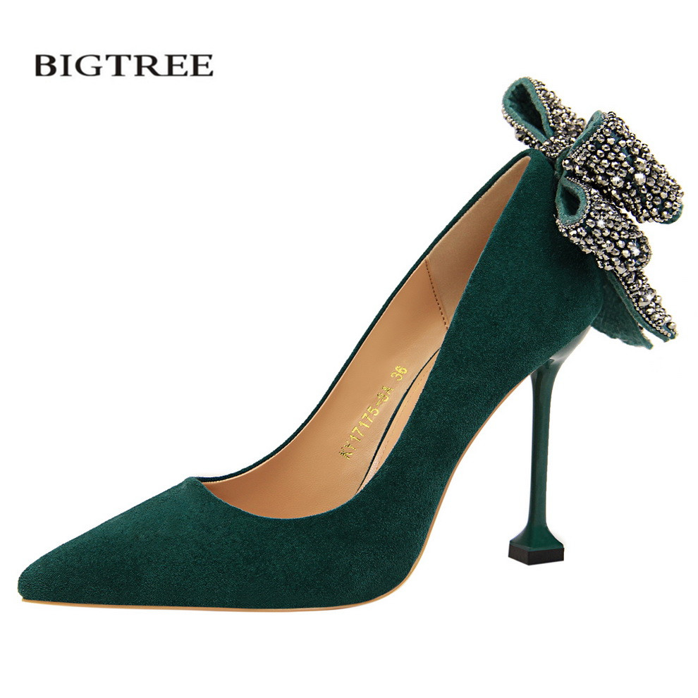 BIGTREE New Spring Summer Elegant Pumps Female High Heels Shoes Suede Shallow Pointy Sexy Nightclub Diamond Bow Shoes G17175-9 bigtree summer autumn women pumps elegant show thin heels stiletto suede pointed side hollow female high heels shoes g3168 6