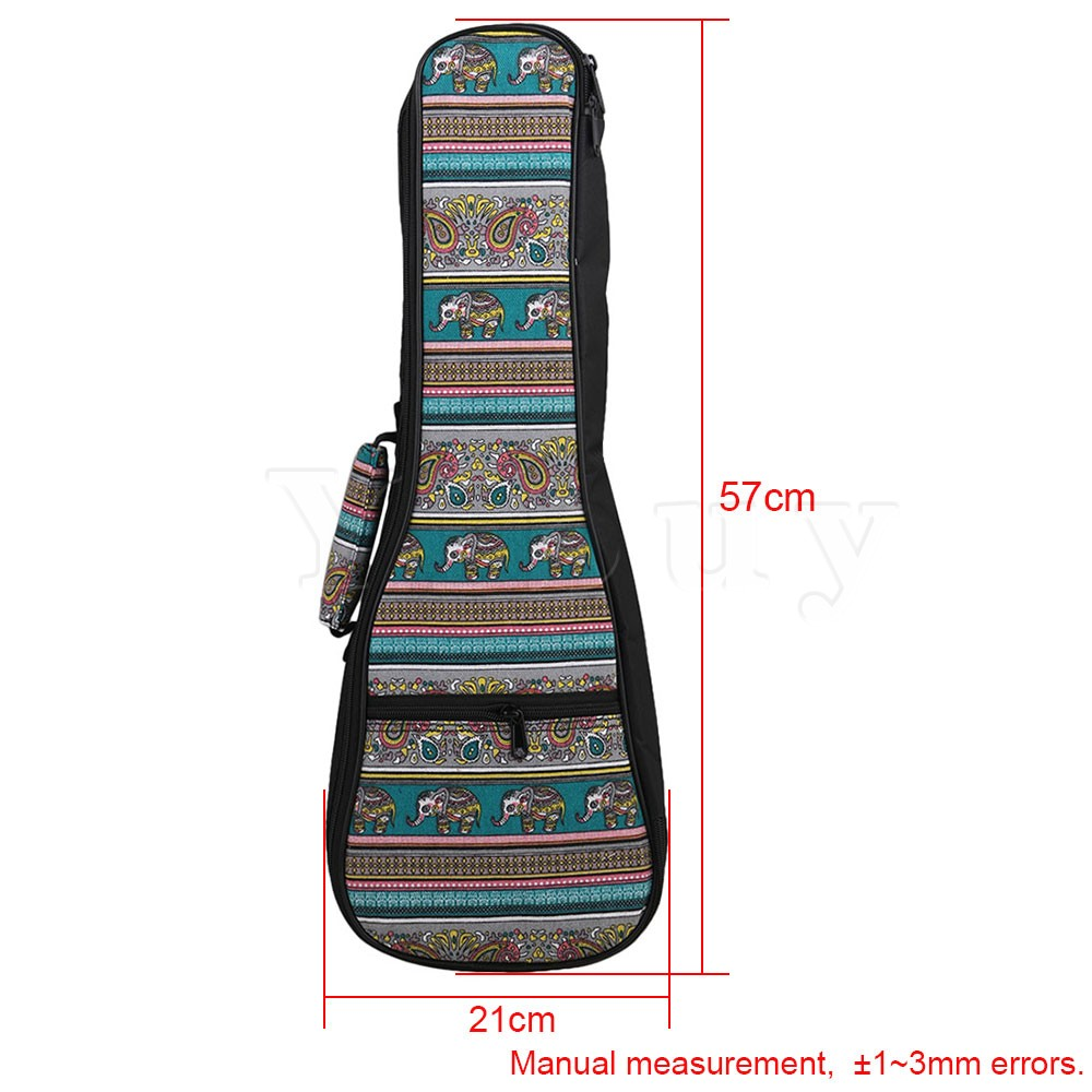 Yibuy 21 Ukulele Fancy Blue Pattern Double Shoulder Carry Bag Guitar Backpack Adjustment Belt Thickened Cotton