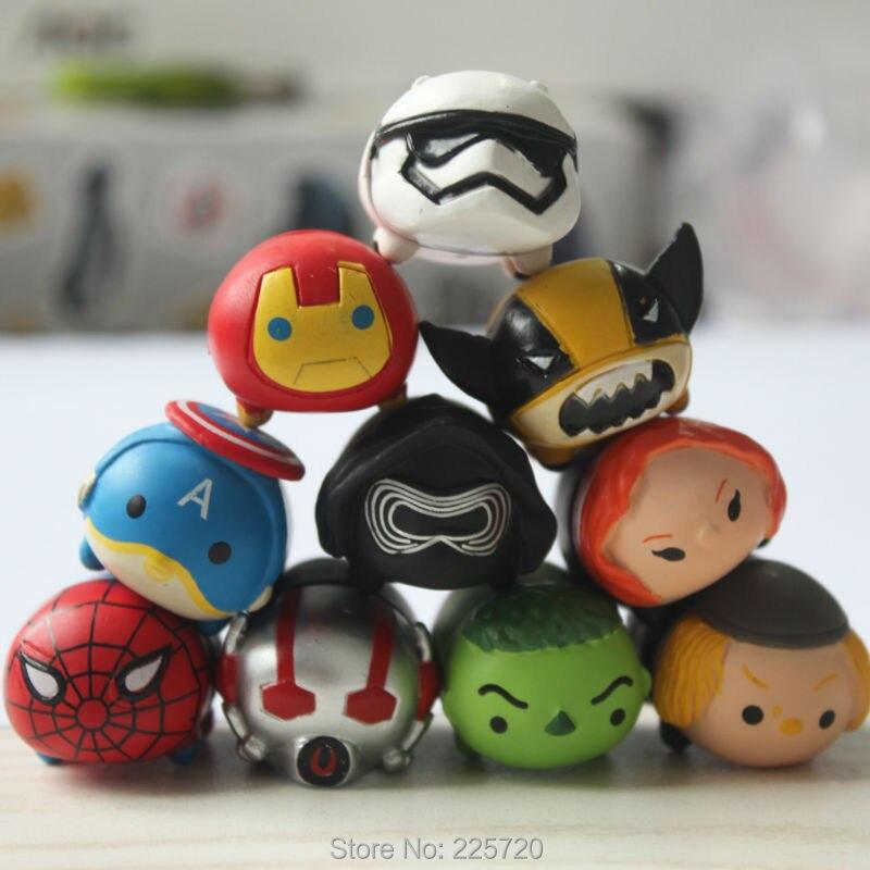 10pcs/set Tsum Tsum Figures Toys Avengers Star Wars Wolverine <font><b>SpiderMan</b></font> PVC Mini Action Figure Gift