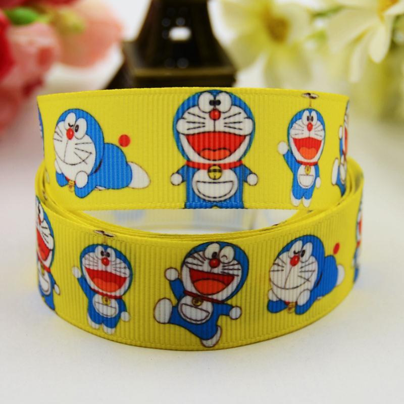 7/8 (22mm) Doraemon Cartoon Character printed Grosgrain Ribbon party decoration satin ribbons OEM X-00591 10 Yards