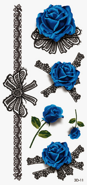 3d Blue Rose Tattoo Women Chain Temporary Henna Tattoos Stickers on ...