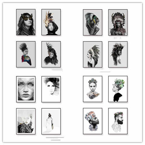 Black White Female Portraits Wall Photo Art Cloth, Indian Hair Feather Girl Poster Canvas Painting Native Home Decor