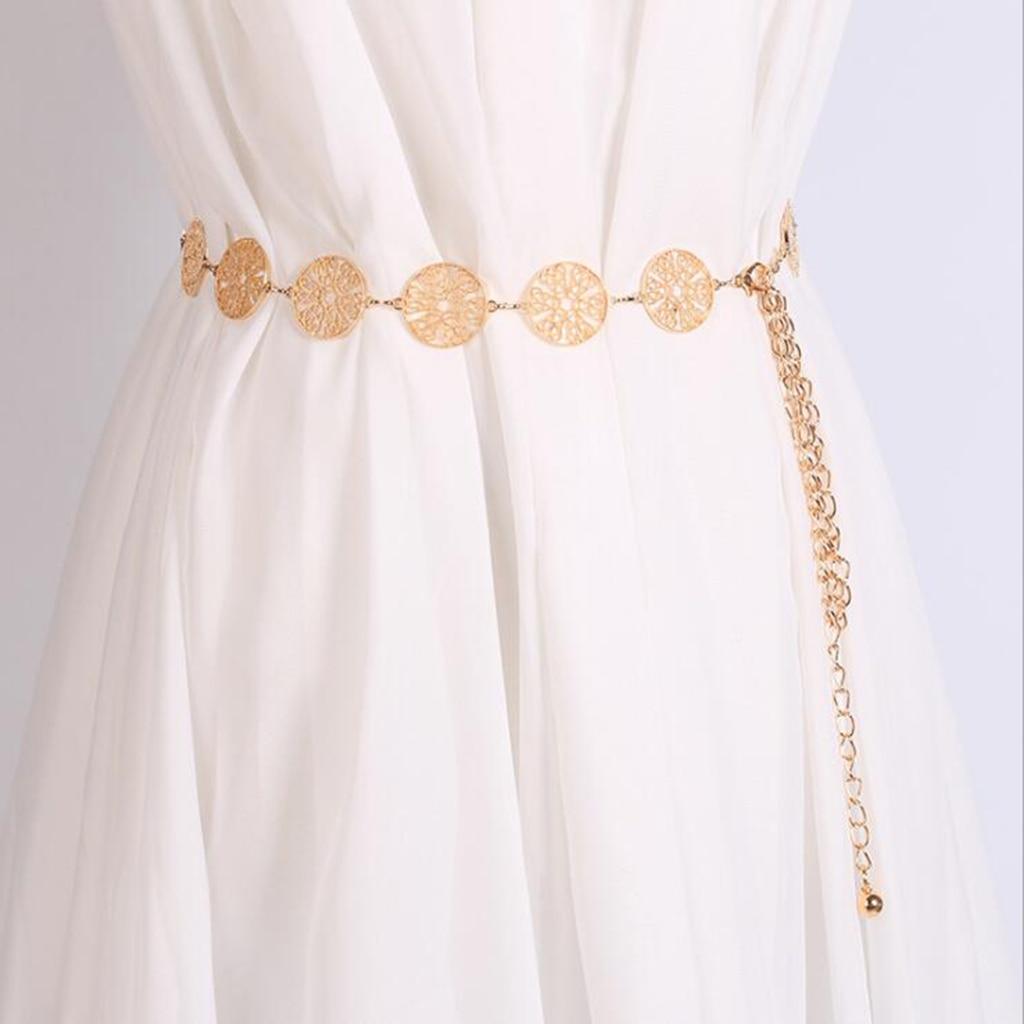 60cm Adjustable Women 39 s Dress Waist Chain Jewelry Gold Coins Waistband Punk Ladies Waist Belt Female Waist Belt Chain in Women 39 s Belts from Apparel Accessories