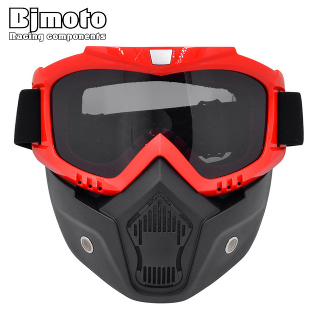 BJMOTO Vintage Motorcycle Helmet Mask MX Racing Snow Skis Motocross Goggles Glasses Snowmobile Face Masks Christmas