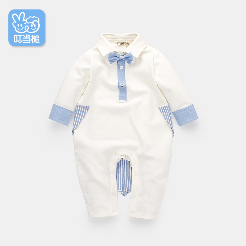 Dinstry Infant Clothing Spring handsome Baby's one-picec gentleman bowtie  Boy's swallowtailed Rompers jingle mallet new born rompers clothing handsome bowtie baby costumes infant boys one piece