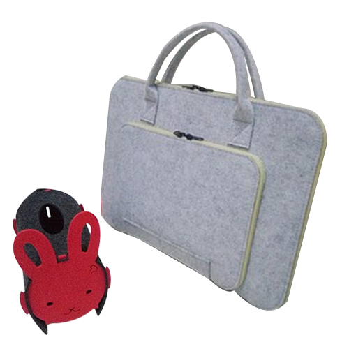 Felt Universal Laptop Bag Notebook Case Briefcase Handlebag Pouch For Macbook Air Pro Retina 15 Inch Men Women(Grey+Beige