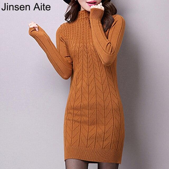 Jinsen Aite New Autumn Winter Thick Sweater Dress Turtleneck Wool Bottom Knitting Slim Full Sleeve Casual Office Dress Hot JS210