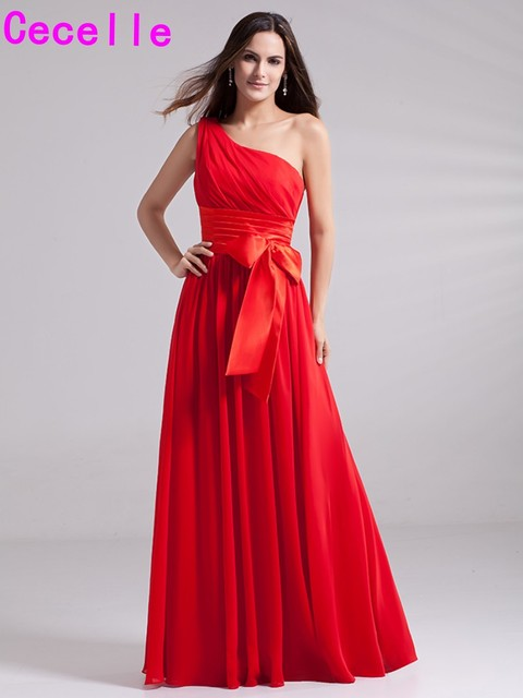 1e03ef9f0ae 2019 Red Long Chiffon Bridesmaid Dresses One Shoulder Pleats A-line Floor  Length Wedding Party Dress Country Western Bridesmaid