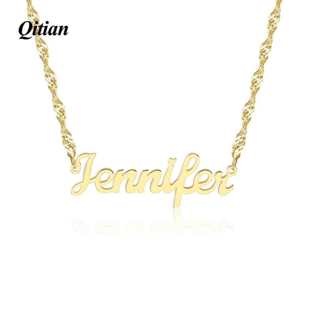 Personalized Necklace,Name Necklace,Custom Name Necklace,Wave Chain Plate Jewelry,Alloy Necklace Jewlery For Women Giifts