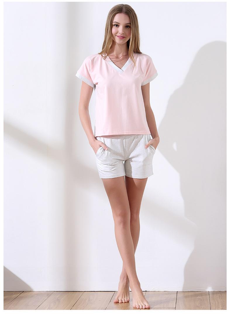 2019 Summer Brand New Homewear Female Casual Cotton pajama sets Women V-neck  collar t shirt + Shorts Ladies Soft sleepwear suit 44b20af9a