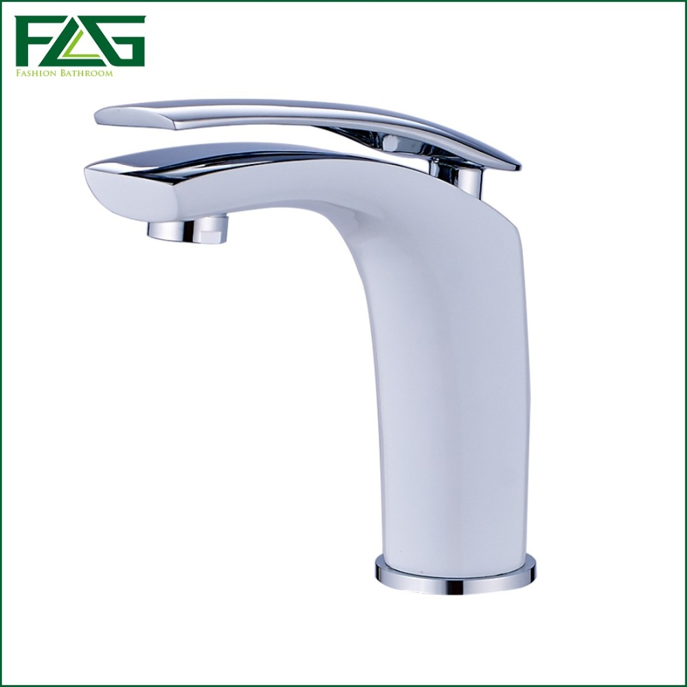 ФОТО FLG Cool Beautiful Water Basin Faucet Single Lever Grilled White Painted & Chrome Deck Mounted Vegetables Basin Bath Taps M263