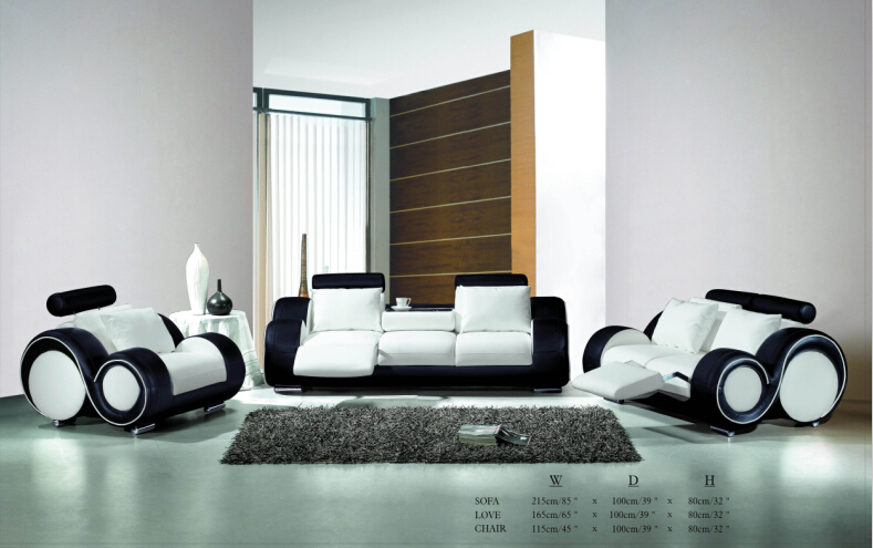 Living Room Sofa Furniture With Recliner Modern Leather Sofa Black